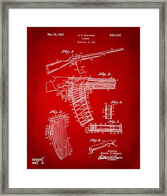 1937 Police Remington Model 8 Magazine Patent Artwork - Red Framed Print