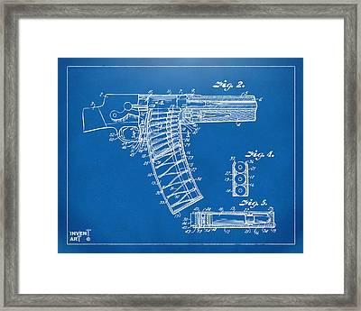 1937 Police Remington Model 8 Magazine Patent Minimal - Blueprint Framed Print by Nikki Marie Smith