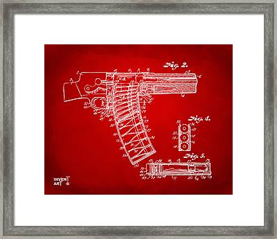 1937 Police Remington Model 8 Magazine Patent Minimal - Red Framed Print