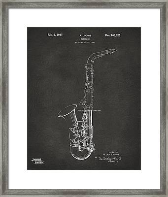 1937 Saxophone Patent Artwork - Gray Framed Print by Nikki Marie Smith
