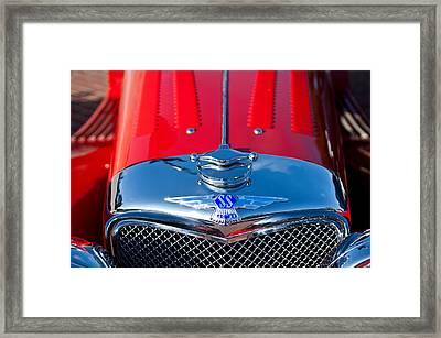 1937 Ss100 3.5-liter Jaguar Roadster Grille Hood Emblem Framed Print