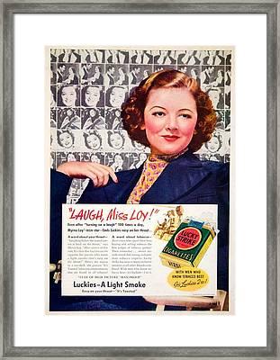 1938 - Lucky Strike Cigarettes Advertising - Myrna Loy - Color Framed Print