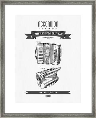 1938 Accordion Patent Drawing Framed Print