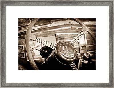 1938 Cadillac V-16 Presidential Convertible Parade Limousine Steering Wheel Emblem Framed Print by Jill Reger