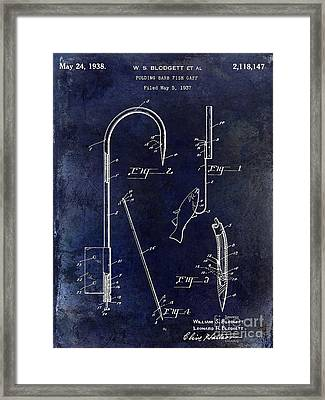 1938 Fishing Gaff Patent Drawing Blue Framed Print