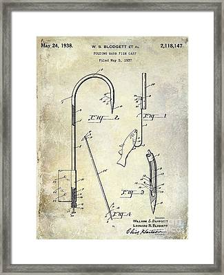 1938 Fishing Gaff Patent Drawing Framed Print