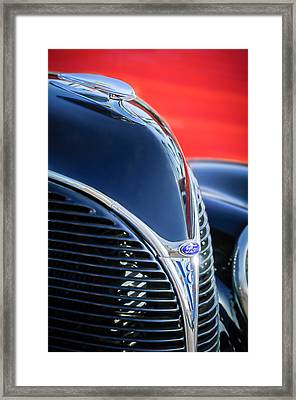 1938 Ford Hood Ornament - Grille Emblem -0089c Framed Print by Jill Reger