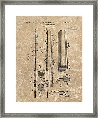 1938 Laminated Fishing Rod Patent Framed Print by Dan Sproul