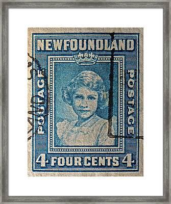 1938 Queen Elizabeth II Newfoundland Stamp Framed Print