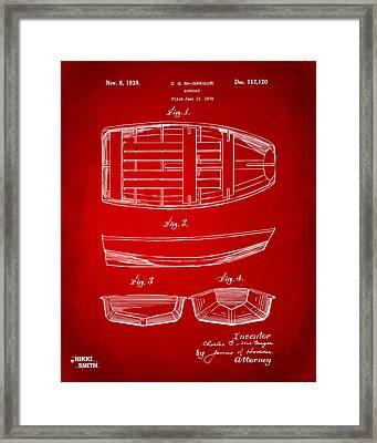 1938 Rowboat Patent Artwork - Red Framed Print