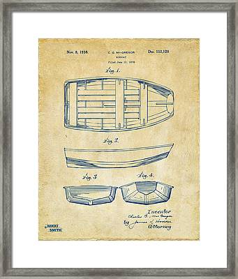 1938 Rowboat Patent Artwork - Vintage Framed Print by Nikki Marie Smith