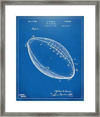 1939 Football Patent Artwork - Blueprint Framed Print by Nikki Marie Smith