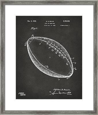 1939 Football Patent Artwork - Gray Framed Print by Nikki Marie Smith