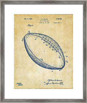 1939 Football Patent Artwork - Vintage Framed Print by Nikki Marie Smith