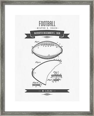 1939 Football Patent Drawing - Retro Gray Framed Print by Aged Pixel