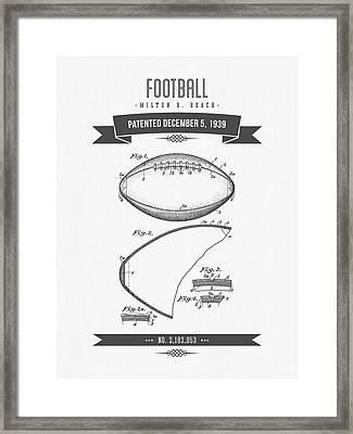 1939 Football Patent Drawing - Retro Gray Framed Print