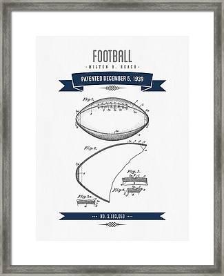 1939 Football Patent Drawing - Retro Navy Blue Framed Print