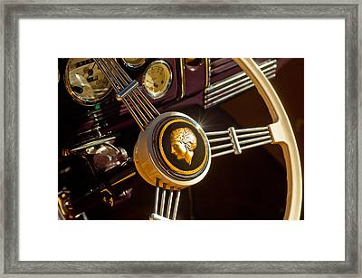 Framed Print featuring the photograph 1939 Ford Standard Woody Steering Wheel by Jill Reger