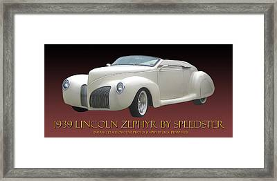 1939 Lincoln Zephyr Poster Framed Print by Jack Pumphrey