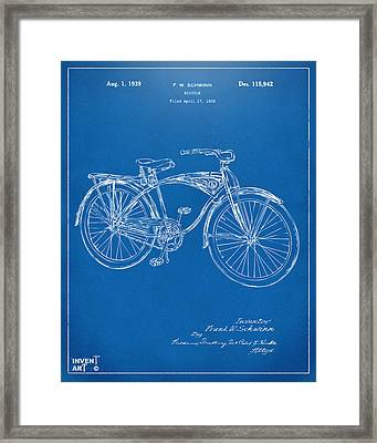 1939 Schwinn Bicycle Patent Artwork Blueprint Framed Print by Nikki Marie Smith