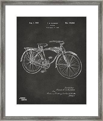 1939 Schwinn Bicycle Patent Artwork - Gray Framed Print by Nikki Marie Smith