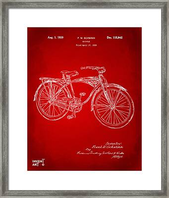 1939 Schwinn Bicycle Patent Artwork Red Framed Print by Nikki Marie Smith