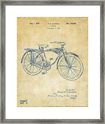 1939 Schwinn Bicycle Patent Artwork Vintage Framed Print by Nikki Marie Smith