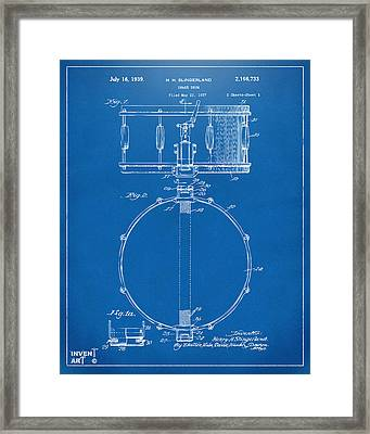 1939 Snare Drum Patent Blueprint Framed Print by Nikki Marie Smith