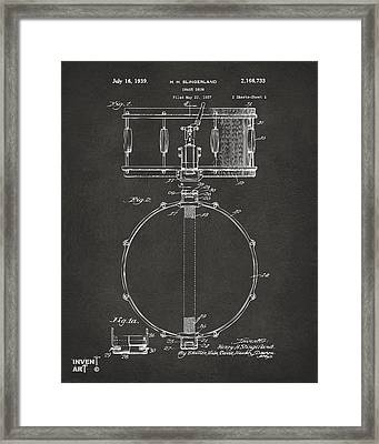 1939 Snare Drum Patent Gray Framed Print by Nikki Marie Smith