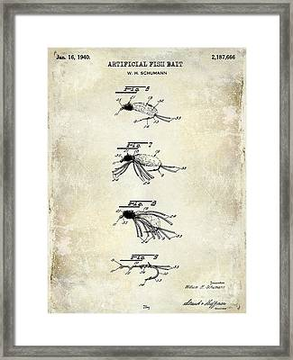 1940 Artificial Fish Bait Patent Drawing Framed Print