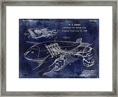 1940 Boning Fish Patent Drawing Blue Framed Print