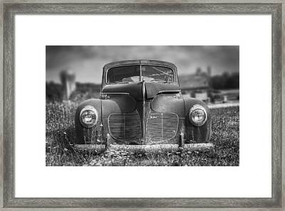 1940 Desoto Deluxe Black And White Framed Print