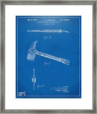 1940 Firemans Axe Artwork Blueprint Framed Print by Nikki Marie Smith