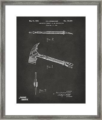 1940 Firemans Axe Artwork - Gray Framed Print by Nikki Marie Smith