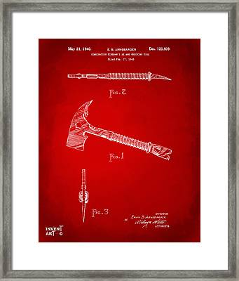 1940 Firemans Axe Artwork Red Framed Print by Nikki Marie Smith