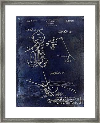 1940 Fishing Gaff Patent Drawing Blue Framed Print