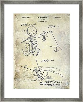 1940 Fishing Gaff Patent Drawing Framed Print