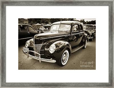 1940 Ford Classic Car Or Antique Automobile Photograph In Sepia  Framed Print