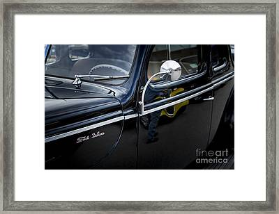 1940 Ford Classic Car  Side Door And Mirror Photograph In Color  Framed Print by M K  Miller