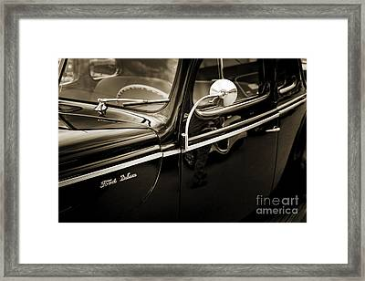 1940 Ford Classic Car  Side Door And Mirror Photograph In Sepia  Framed Print by M K  Miller