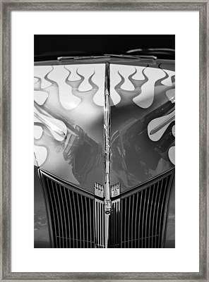 1940 Ford Hot Rod Flamed Hood -264bw Framed Print by Jill Reger