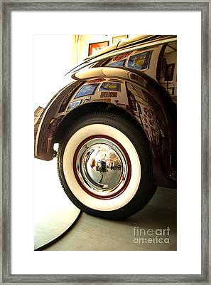 Framed Print featuring the photograph Classic Maroon 1940 Ford Rear Fender And Wheel   by Jerry Cowart