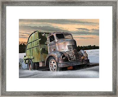 Framed Print featuring the digital art 1940 Gmc Garbage Truck by Stuart Swartz