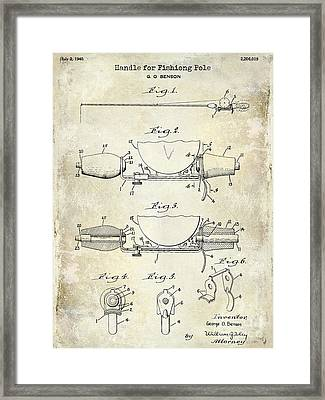 1940 Handle For Fishing Pole Patent Drawing Blue Framed Print by Jon Neidert