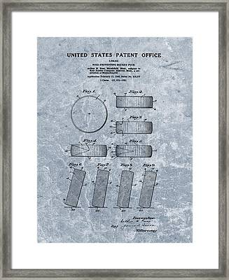 1940 Hockey Puck Patent Blue Framed Print by Dan Sproul