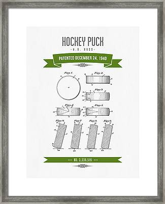 1940 Hockey Puck Patent Drawing - Retro Green Framed Print by Aged Pixel