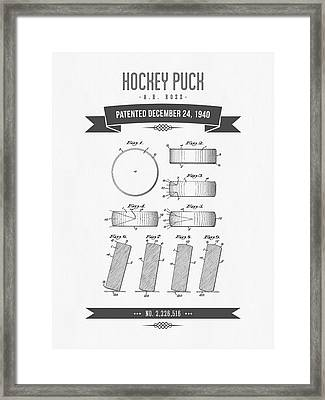 1940 Hockey Puck Patent Drawing - Retro Grey Framed Print by Aged Pixel
