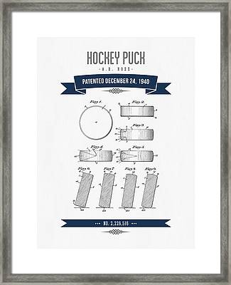 1940 Hockey Puck Patent Drawing - Retro Navy Blue Framed Print by Aged Pixel