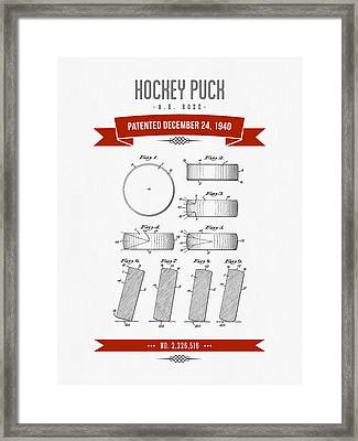 1940 Hockey Puck Patent Drawing - Retro Red Framed Print by Aged Pixel