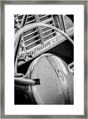 1940 Plymouth Deluxe Woody Wagon Steering Wheel Emblem -0116bw Framed Print by Jill Reger